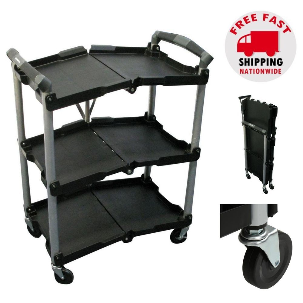 a24b0a73599b Rolling Utility Service Cart Food Grocery Kitchen Garage Portable ...