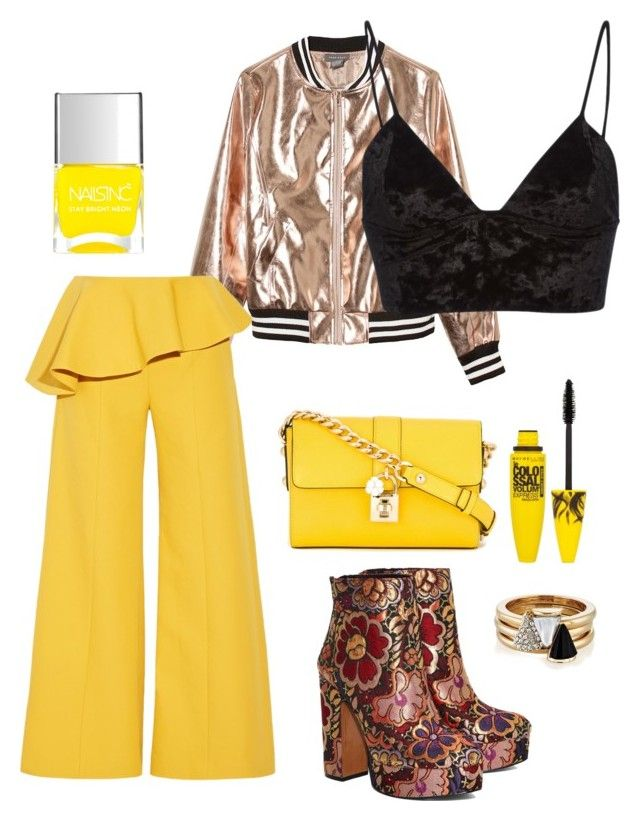 """""""Yellow"""" by jamiekane on Polyvore featuring Sans Souci, Rosie Assoulin, Fleur du Mal, Shellys, Dolce&Gabbana, Brixton, Nails Inc. and Maybelline"""