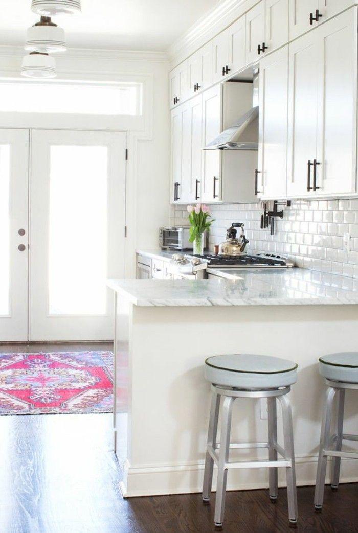 küche l-form moderne küche mit teppichläufer und metro fliesen - teppich läufer küche