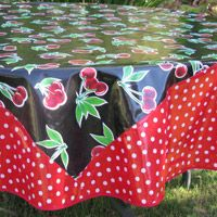 Charmant Black Cherry 70 Inch Round Oilcloth Tablecloth