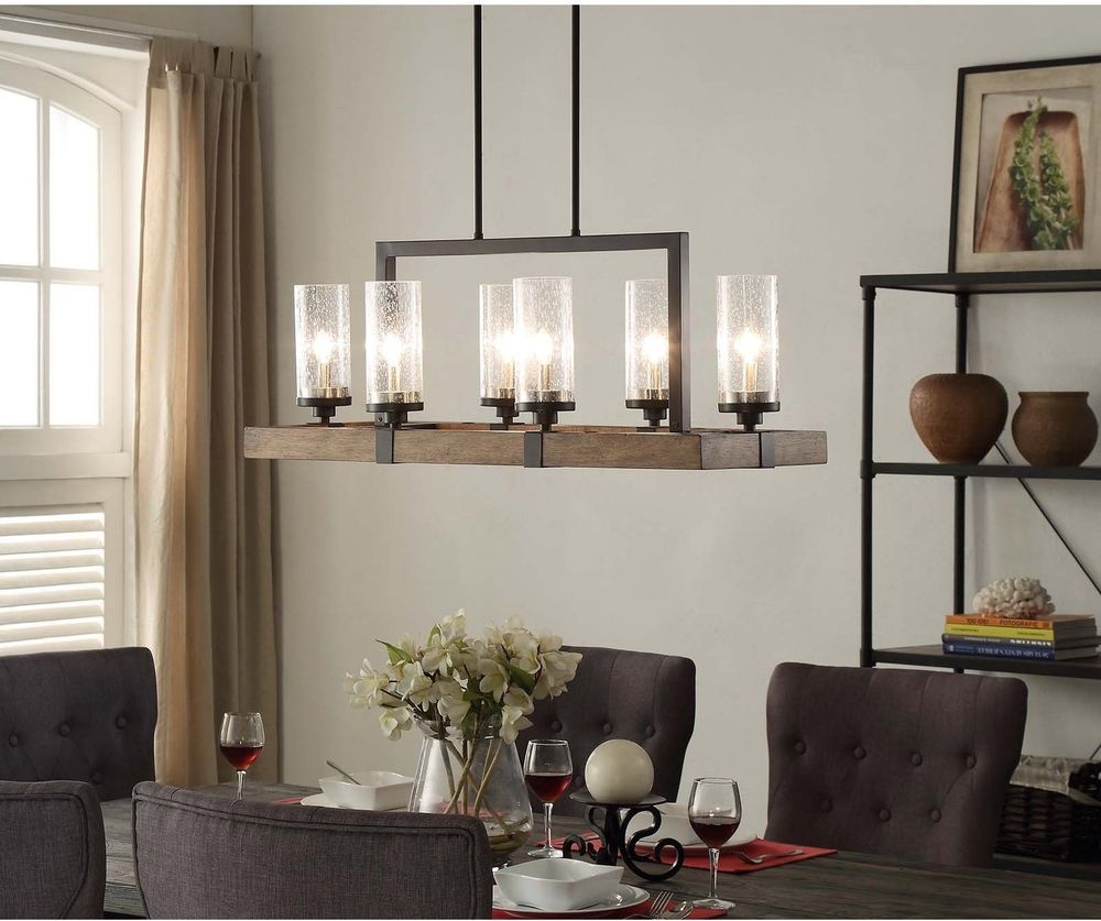 6 Light Metal Wood Chandelier Dining Room Kitchen Fixture Rustic Charm