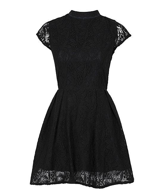 Black Lace Nichole Mock Neck Dress | Louche
