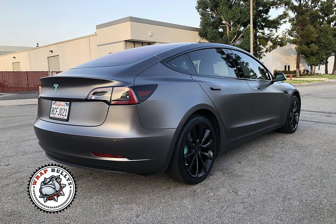 Model 3 Wrapped In 3m Satin Dark Gray Wrap Bullys Vinyl Wrap Car Tesla Model X Vinyl Wrap Colors