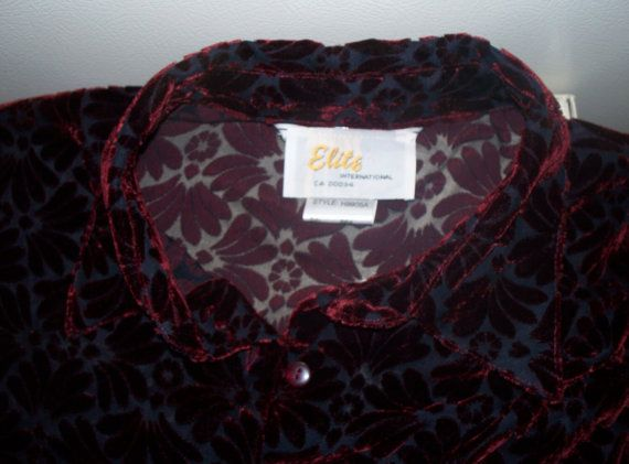 60s/70s cranberry cut velvet button down by thewildstrawberries