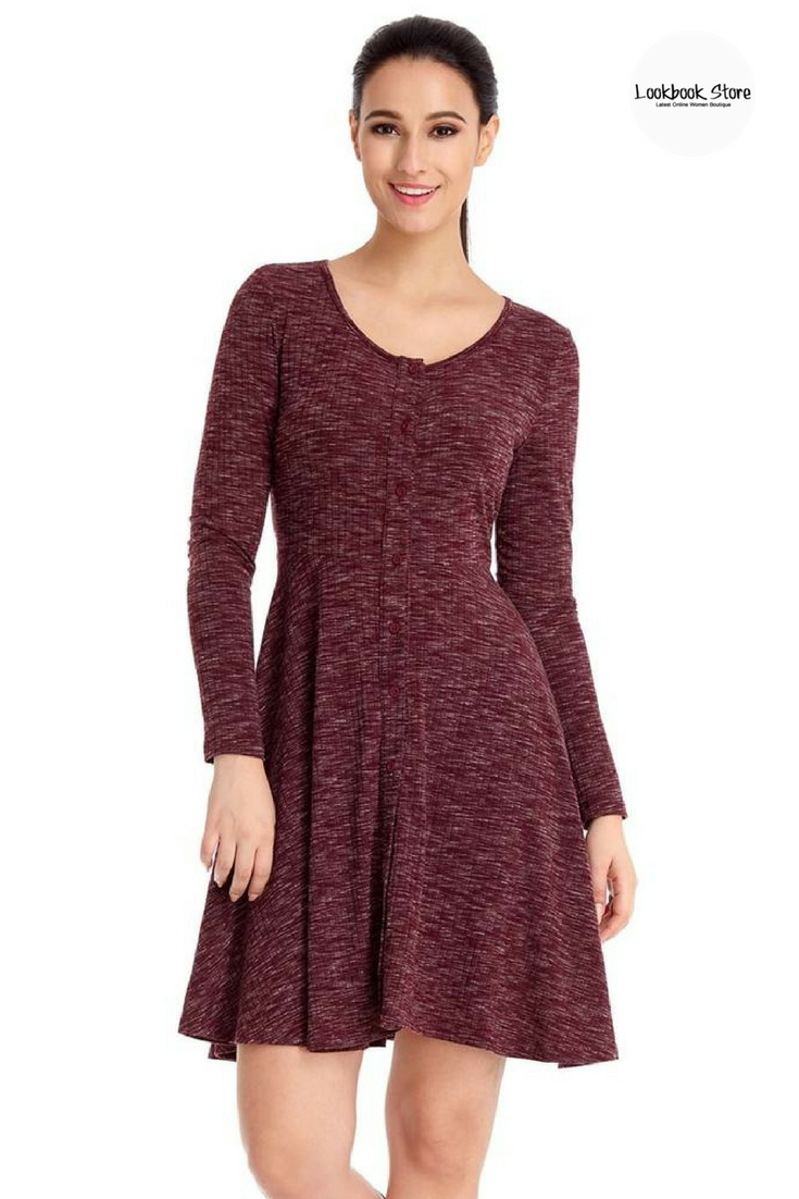 Burgundy buttonfront melange knit dress cold weather what s and