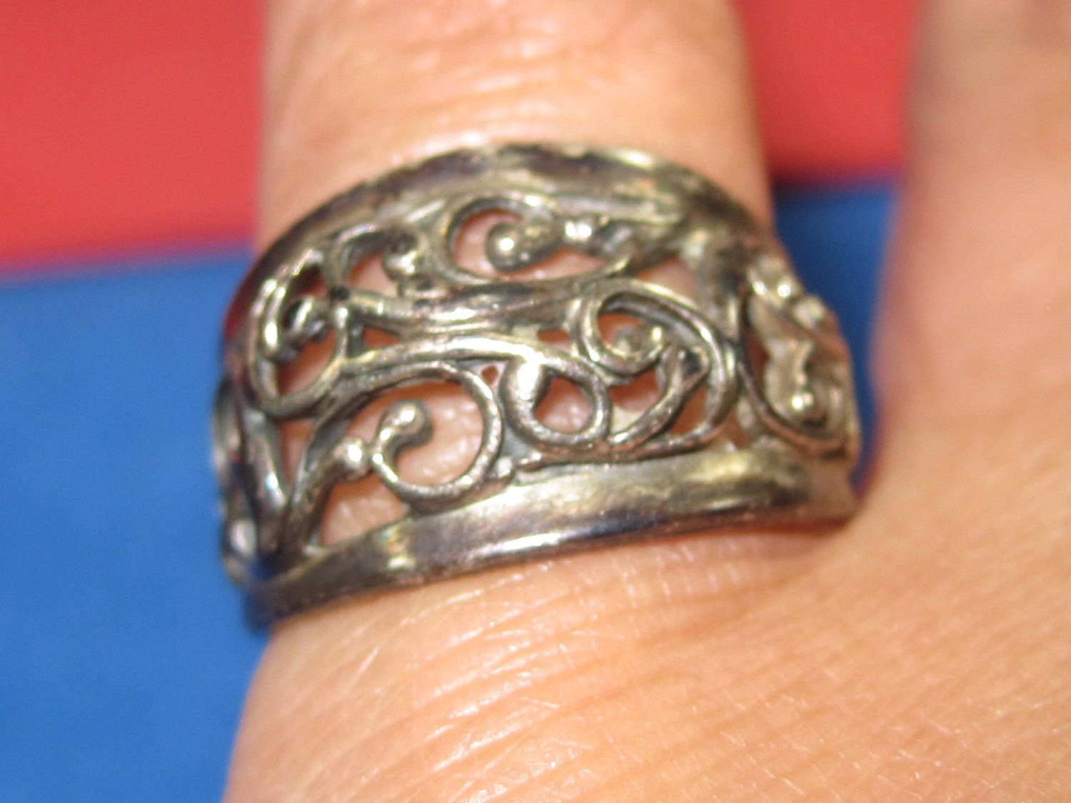 R-21  Old Style Vintage Ring size 5  sterling   silver by HipTrends2015 on Etsy