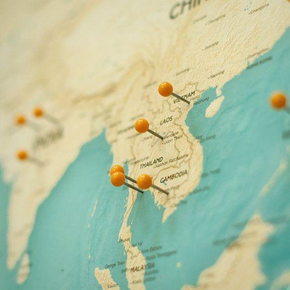 Push Pin Travel Map White Black or Gold Frame Modern ...  Pushpin Map