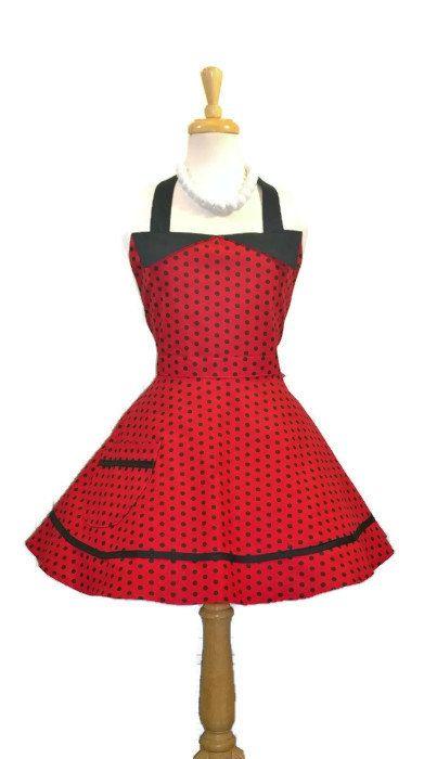 Red and Black Polka Dot Retro Apron  Sweetheart by enchiladamama, $39.50