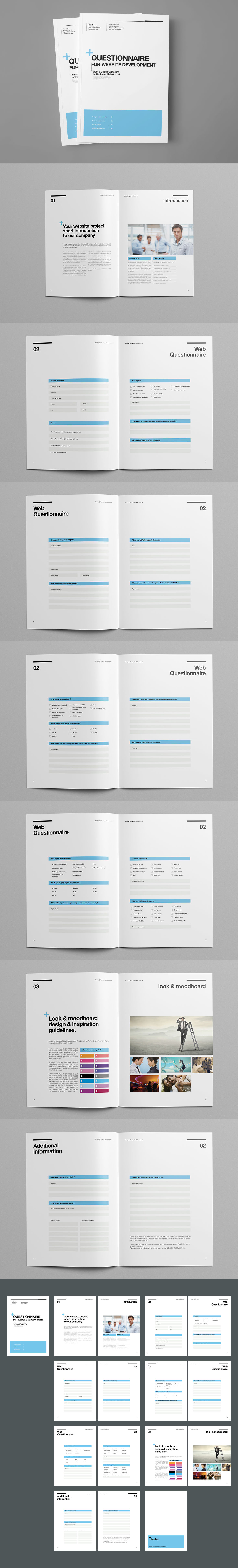 Questionnaire Proposal Template InDesign INDD - 16 Pages, A4 and US ...
