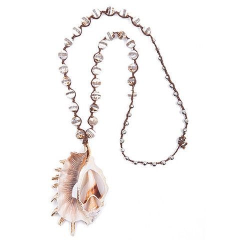 Agate Bead and Philippine Shell Necklace