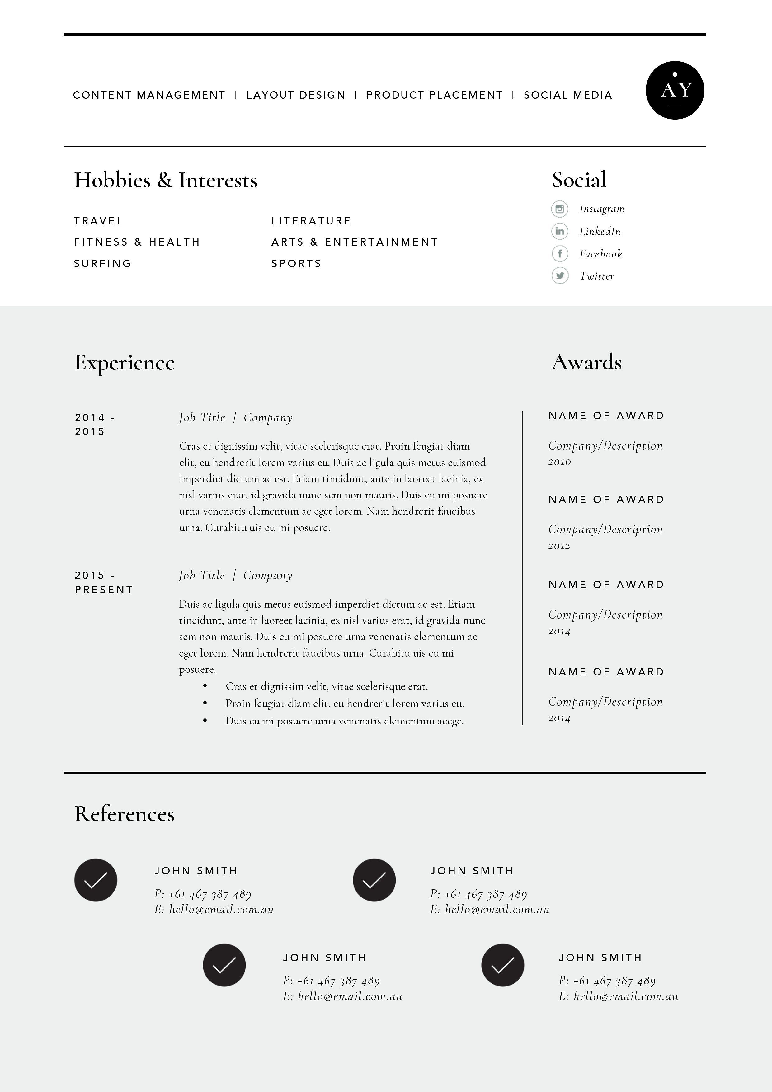 Resume Template 3 Page CV Template , #AD, #includes#quick ...