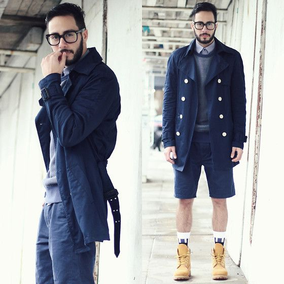 b24543f59d85 H&M Trench, Levi's® Sweater, Banana Republic Shirt, Levi's® Shorts,  Timberland Boots, Richer Poorer Socks, Tom Ford Glasses