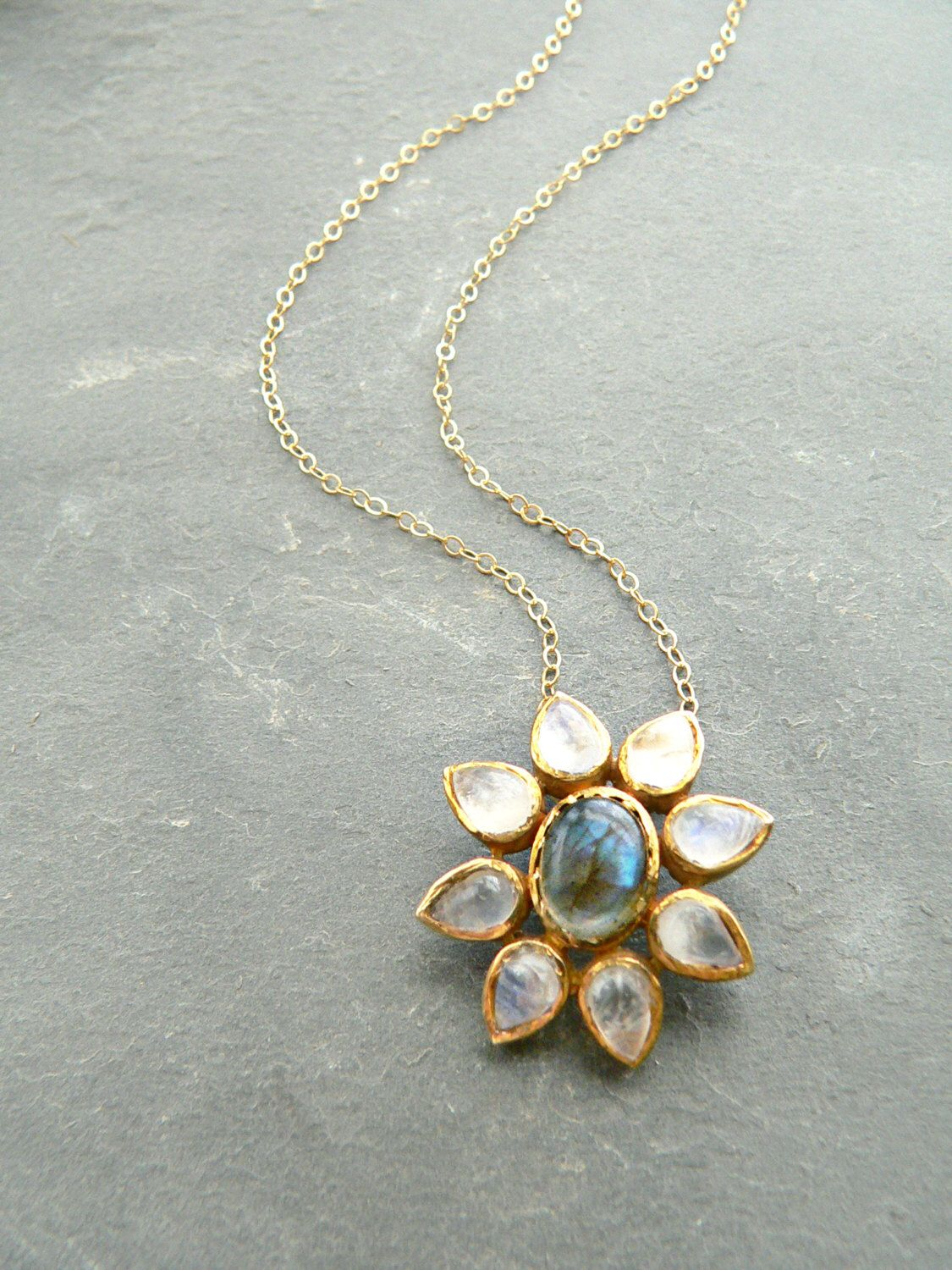 Rainbow Moonstone + Labradorite Flower Gold Necklace by ...