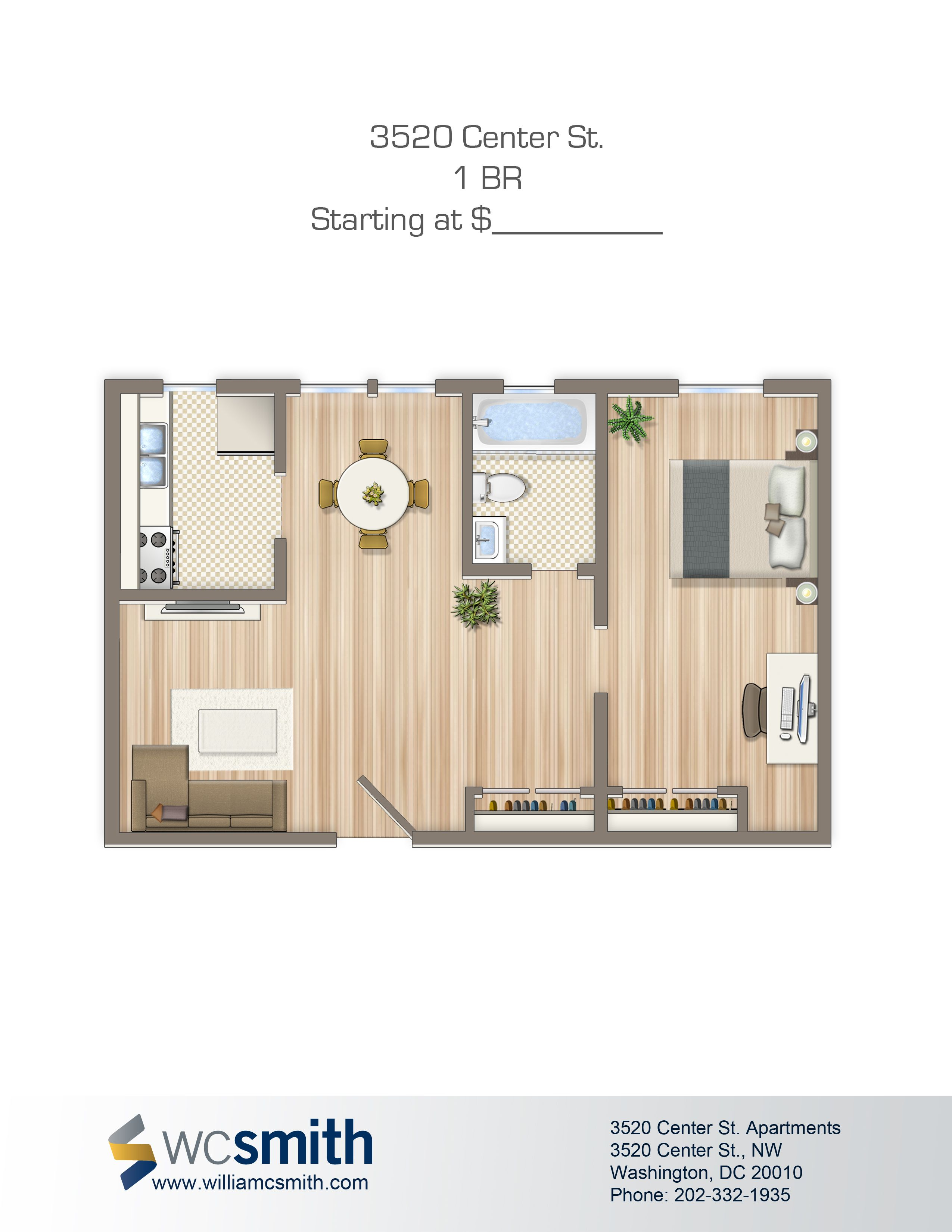 One Bedroom Floor Plan Alpha House Apartments in