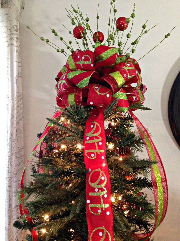 Large Red And Green Christmas Bow Ribbon Tree Topper Fast Shipping Christmas Tree Bows Colorful Christmas Tree Christmas Tree Toppers