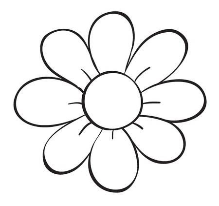 Illustration Of A Flower Sketch On White Background Flower Pattern Drawing Flower Outline Easy Flower Drawings