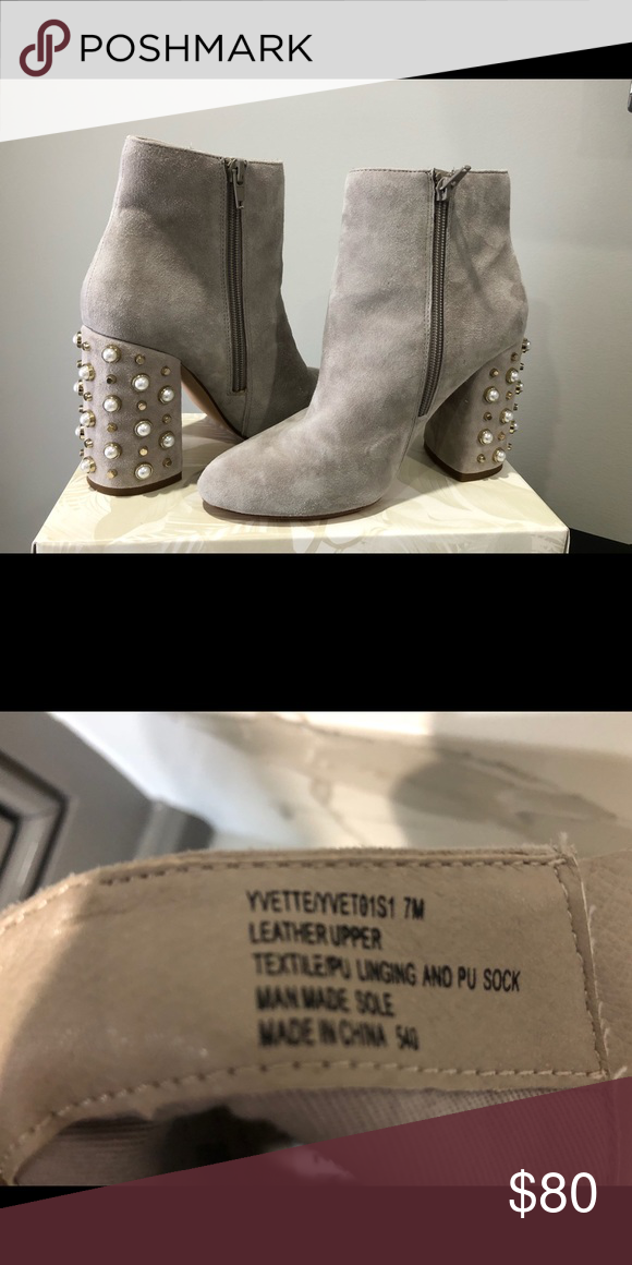 65821ae0a37 Steve Madden Yvette Suede Pearl Booties in Taupe Elegant Ankle boots with a  glam block heel detailed with pearls and studs. They have only been worn  one ...