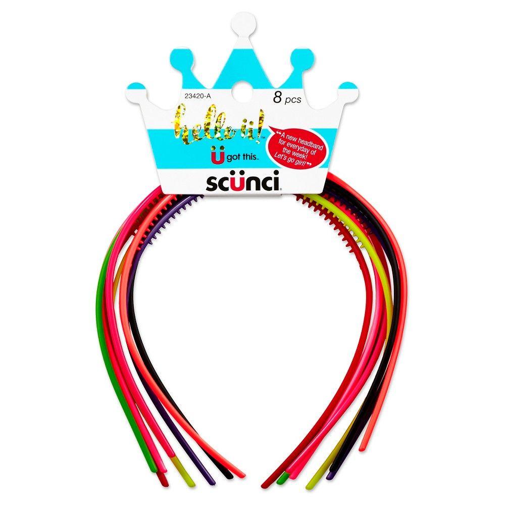 Scünci Hello ü! 8 Pack Headbands, Adult Unisex, Multi-Colored