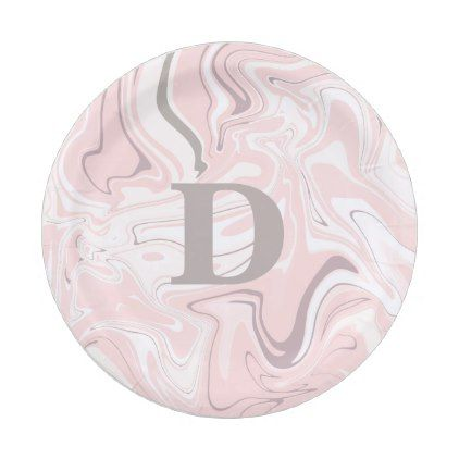 Elegant minimalist pink and white marble look paper plate - pattern