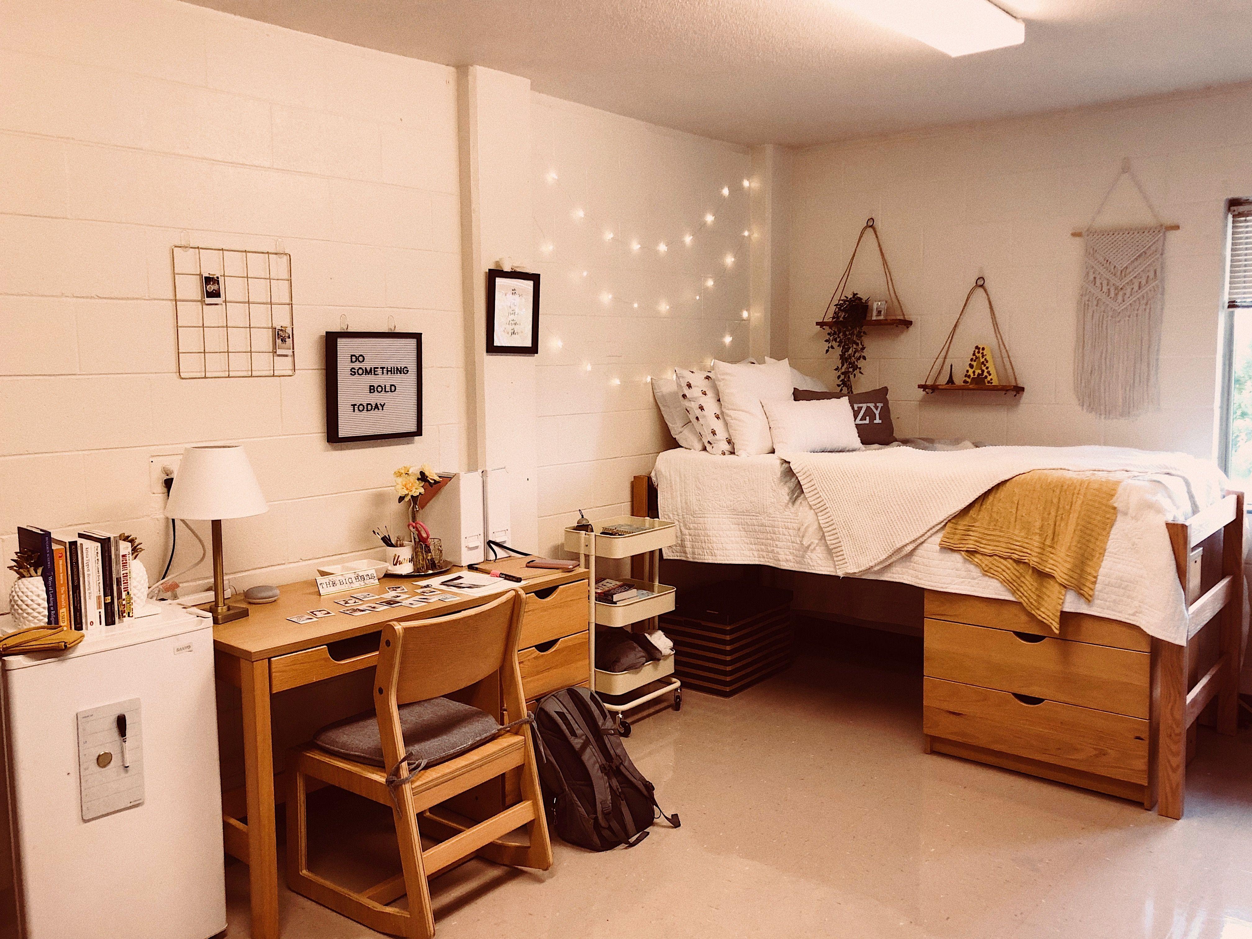 Lowered Beds Desk Next To It Dresser Under Bed College Dorm Room Decor Dorm Room Designs Dorm Room Inspiration