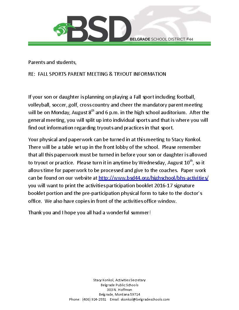 Fall Sports Parent Meeting And Tryout Information Sports Parent Fall Sports Parents Meeting