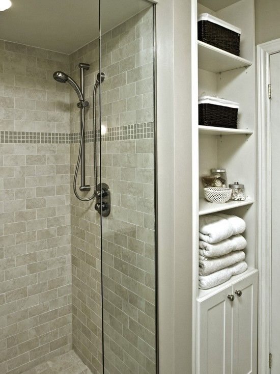Built-in storage for small bathroom