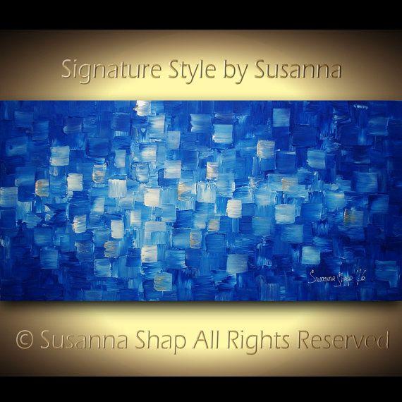 Gran azul abstracto pintura moderna arte textura por for Pinturas para el hogar