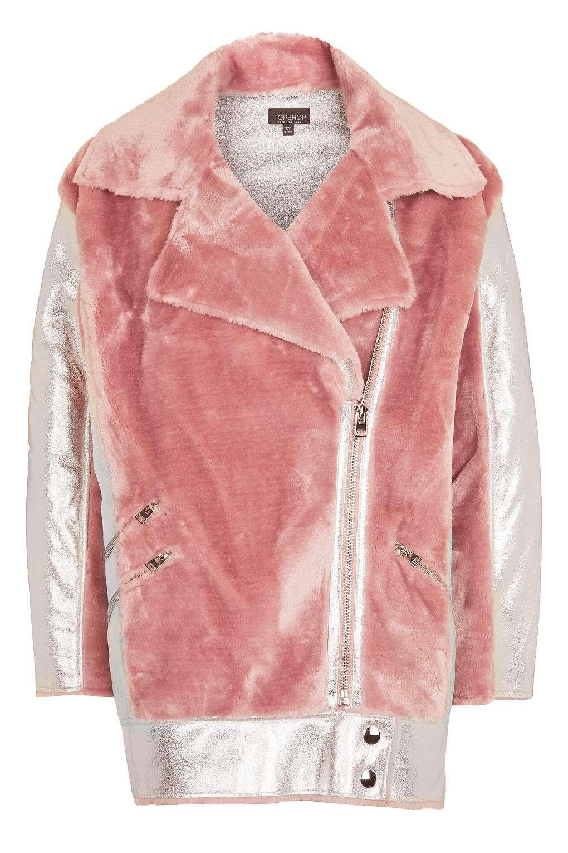 Metallic Faux Fur Biker Jacket - New In Fashion - New In | Coats ...