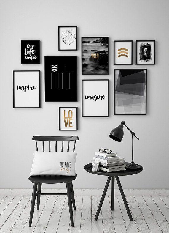 Schwarz und weiß Kunstdrucke, Satz von 10 Drucke, Poster, 10 Kunst-Drucke-Satz, minimalistische Plakate, ArtFilesVicky #albumart