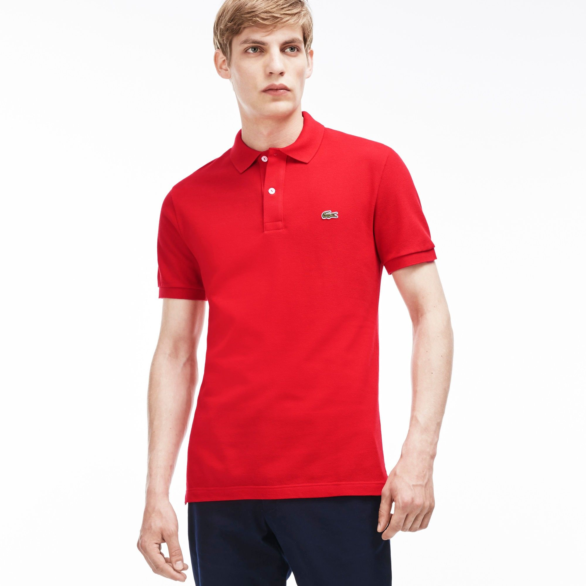 3ec9a6b8 LACOSTE Men's Slim Fit Petit Piqué Polo Shirt - red. #lacoste #cloth ...