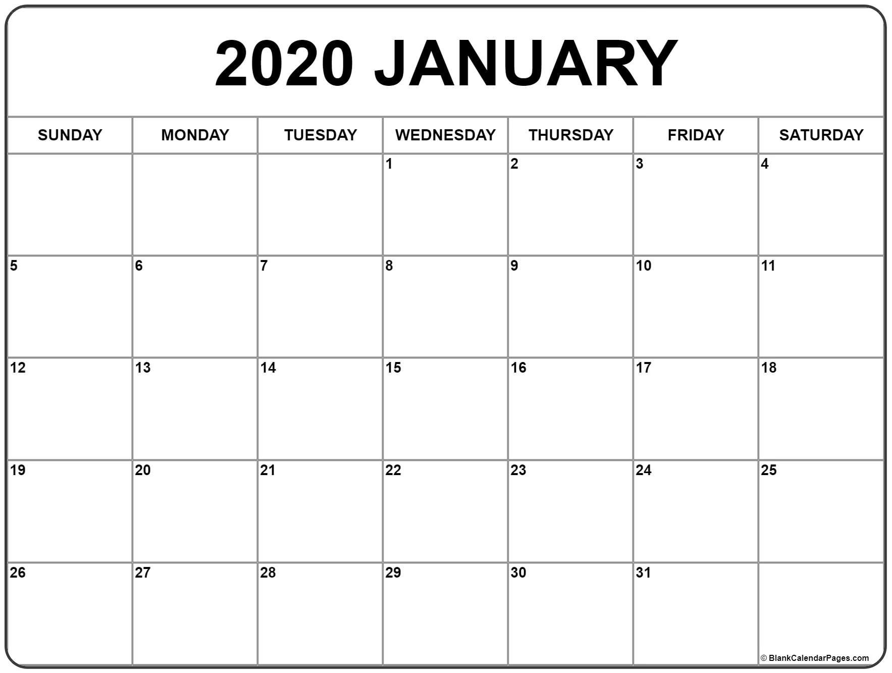 picture regarding January Printable Calender titled January 2020 calendar free of charge printable regular monthly calendars