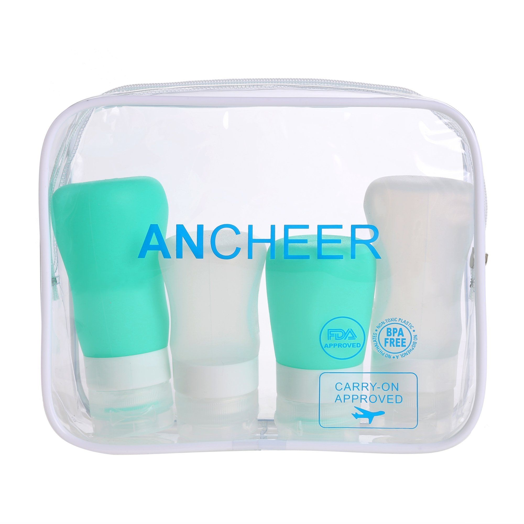 Ancheer Travel Bottle Set -Pack of 4 Leak Proof Silicone Containers in a Portable TSA Approved Toiletry Bag. Food Grade BPA Free Silicone: Designed with safety first and convenience a close second. Our silicone travel bottles are made of FDA approved and 101% BPA free food grade silicone, making it safe for other liquids like sauce, salad dressing or even baby fd. LEAK PROOF SILICONE: Each 100% BPA Free silicone bottle has been created not to leak when travelling. Large size bottle…
