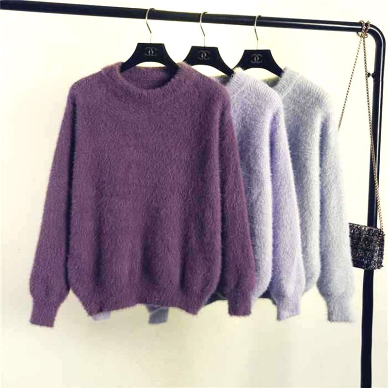 over size Mohair Sweater Open stitch – Purple Web ClpsRr