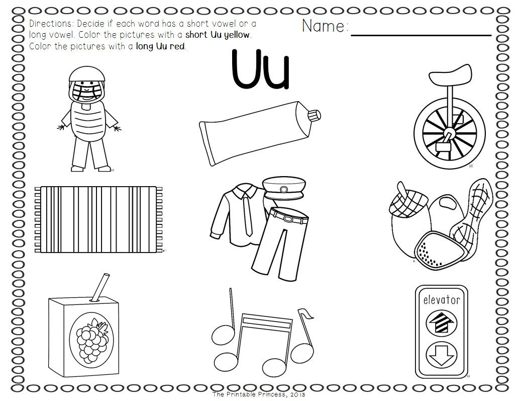 vowel coloring pages - photo#38
