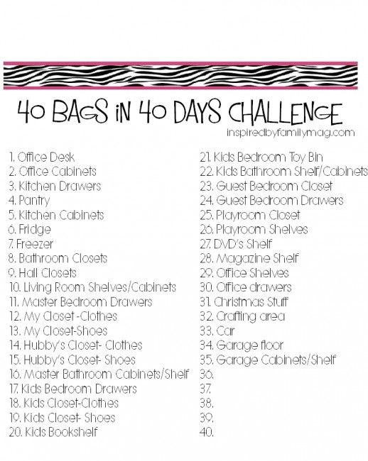 organize declutter 40 bags in 40 days challenge bag