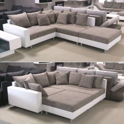Ecksofa Claudia Wohnlandschaft Ottomane Rechts Sofa Mit Hocker Weiss Graubeige Sofas Grandes Design De Sofa Sofas Modernos