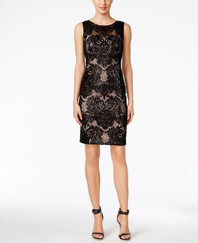 Macys Calvin Klein Sequined Lace Sheath Dress Back
