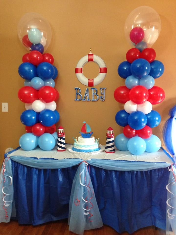 Nautical baby shower balloon decorations pinterest for Anchor balloon decoration