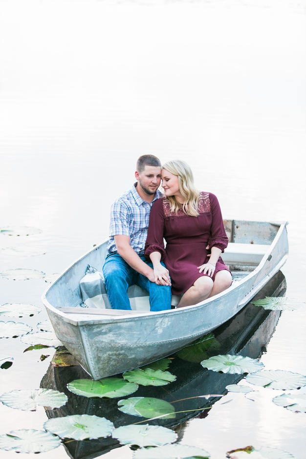Florida Engagement Session | Bride & Groom | Natural Light | Golden Hour | Engaged | Row Boat | Lake