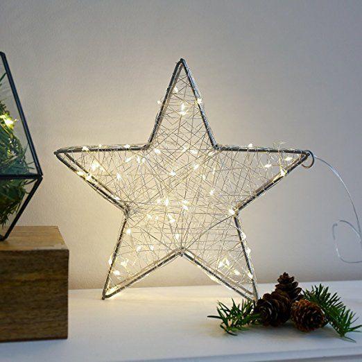 Silberner Metall Deko Stern 60 Leds In Warmweiss Von Festive Lights Deko Sterne Deko Weihnachtsdeko Beleuchtung