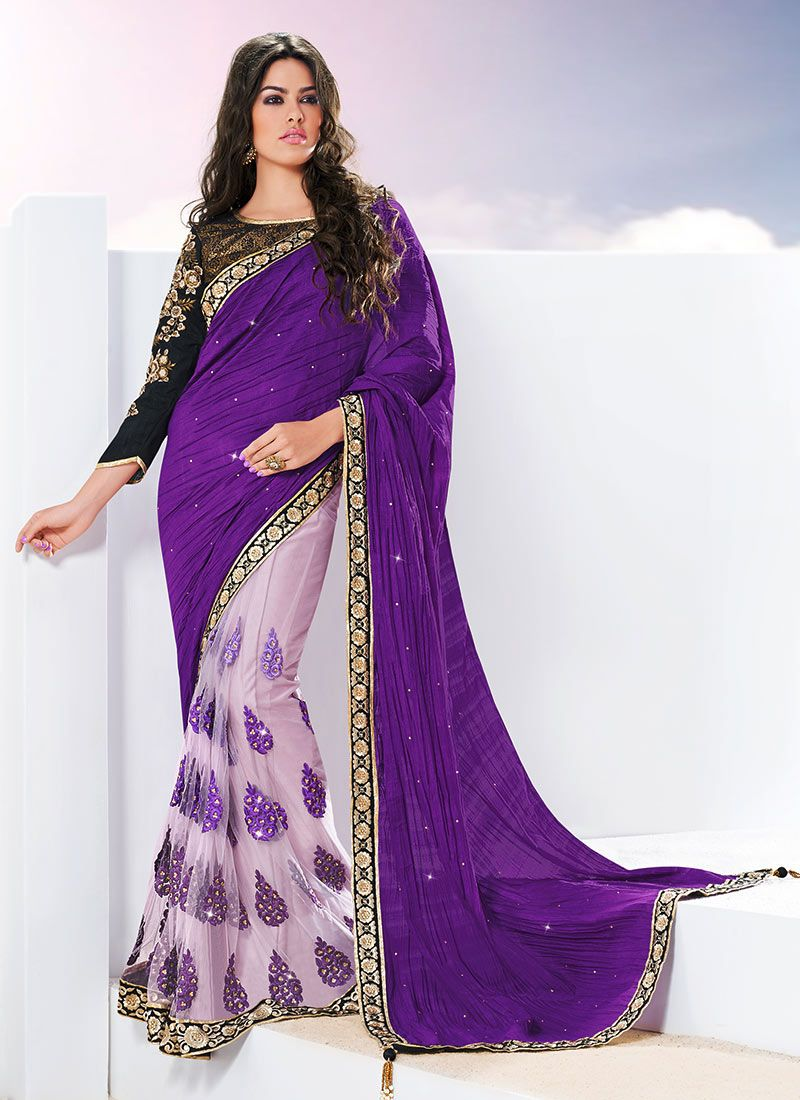 c264169a52 Violet colored Saree goes well with any occasion. Shop online Designer Saree  from cbazaar at the lowest price.