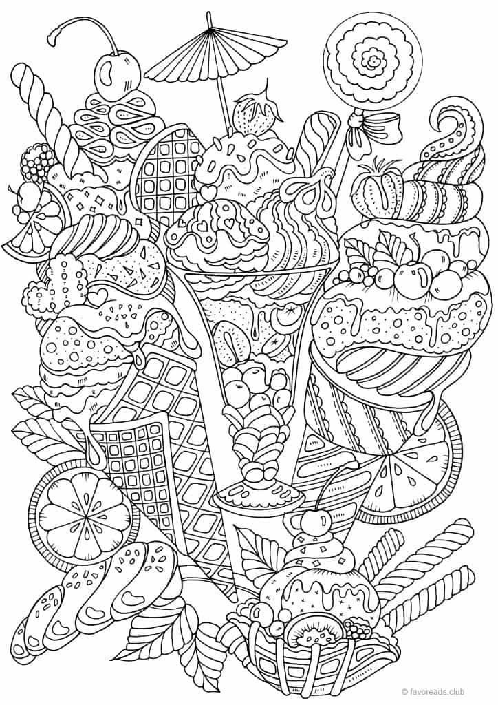 Sweet treats coloring page (With images) | Printable adult ...