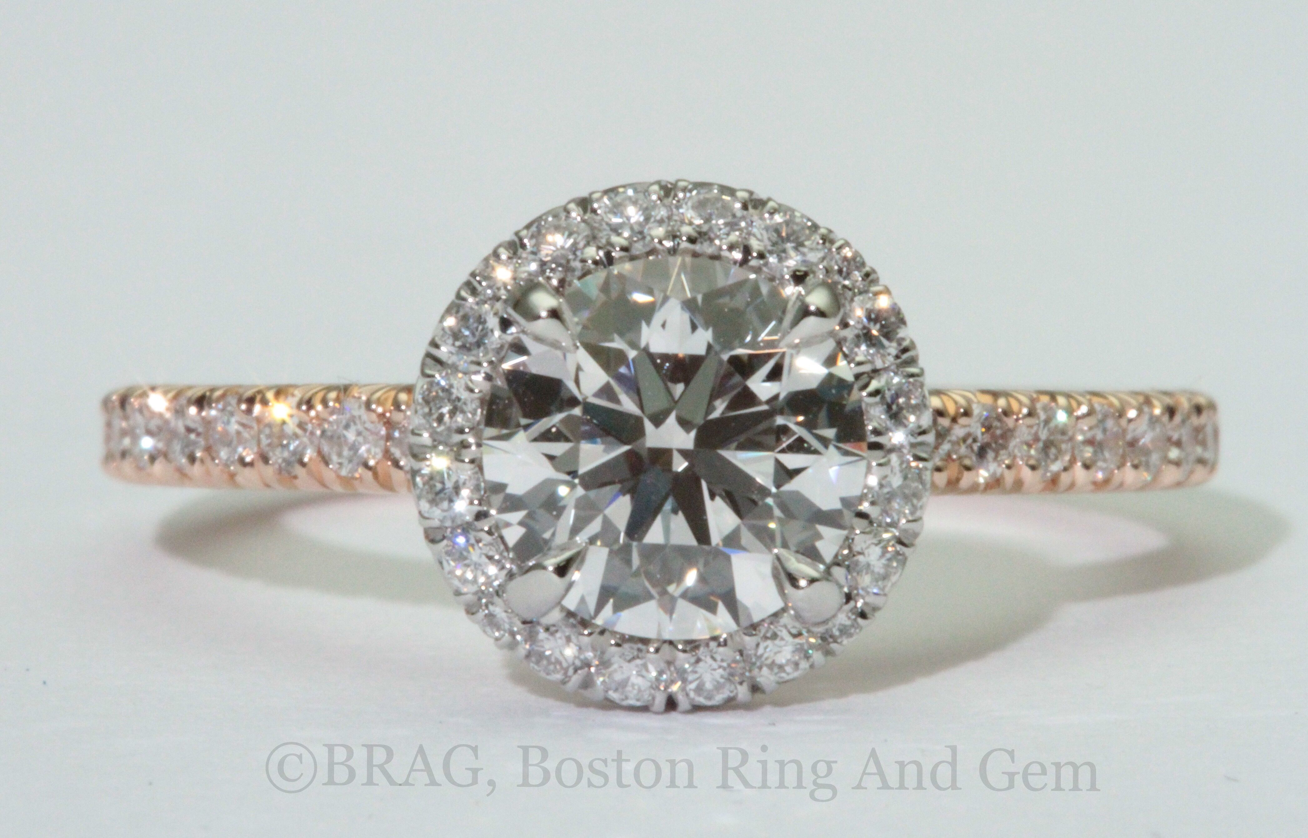 Two tone platinum round halo with k rose gold french cut set