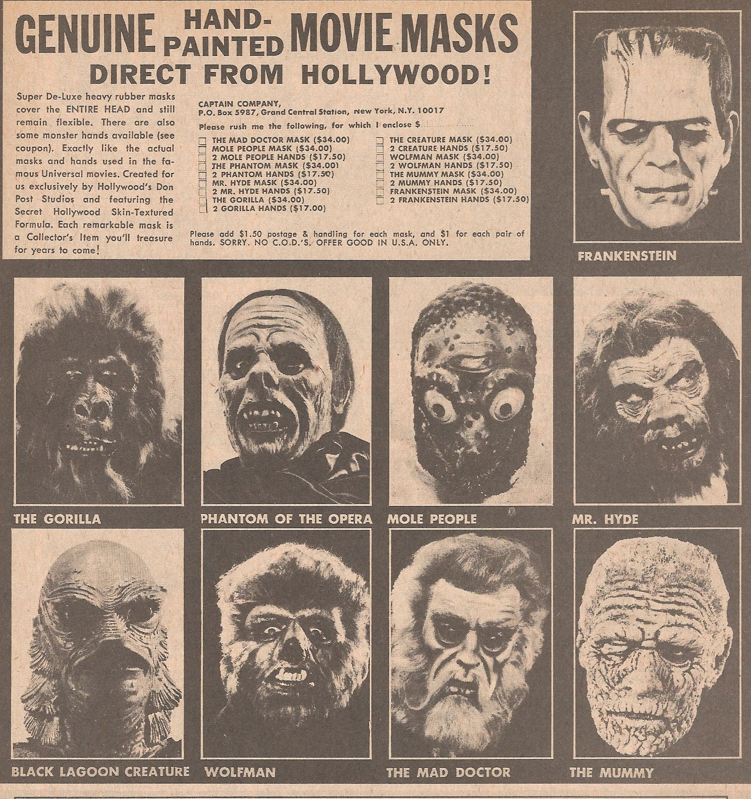 monster masks 1960s early 70s | Monster toys, games & costumes ...
