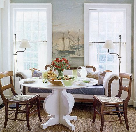 Tom Scheerers East Hampton House HB He Created Wraparound Scenic Wallpaper For The Dining Area By Enlarging A Currier Ives Print Of Newport Harbor