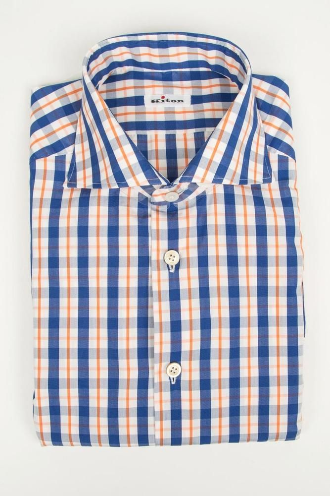 fe765ddd68 Kiton Blue White Orange Plaid Cotton Spread Collar Dress Sport Shirt 40 15  3 4