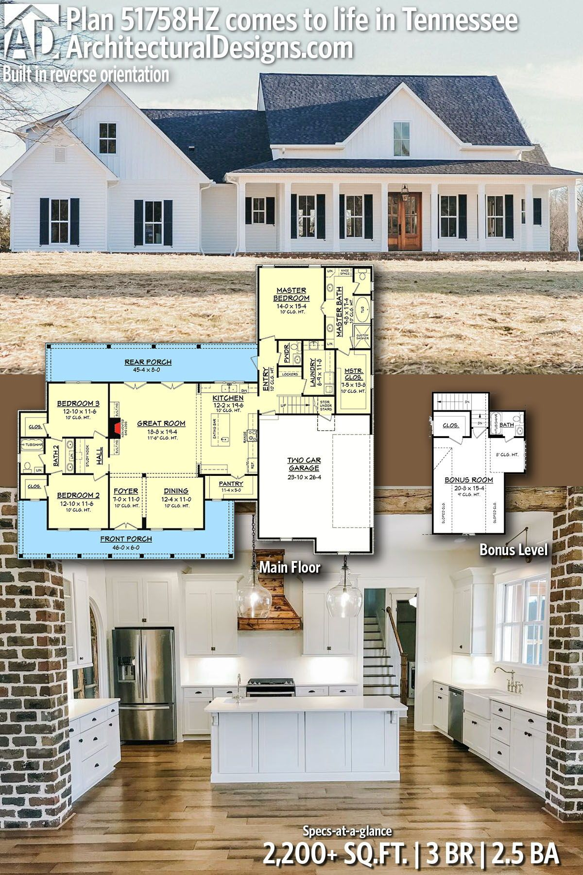Plan 51758hz Three Bed Farmhouse With Optional Bonus Room New House Plans Dream House Plans House Plans Farmhouse