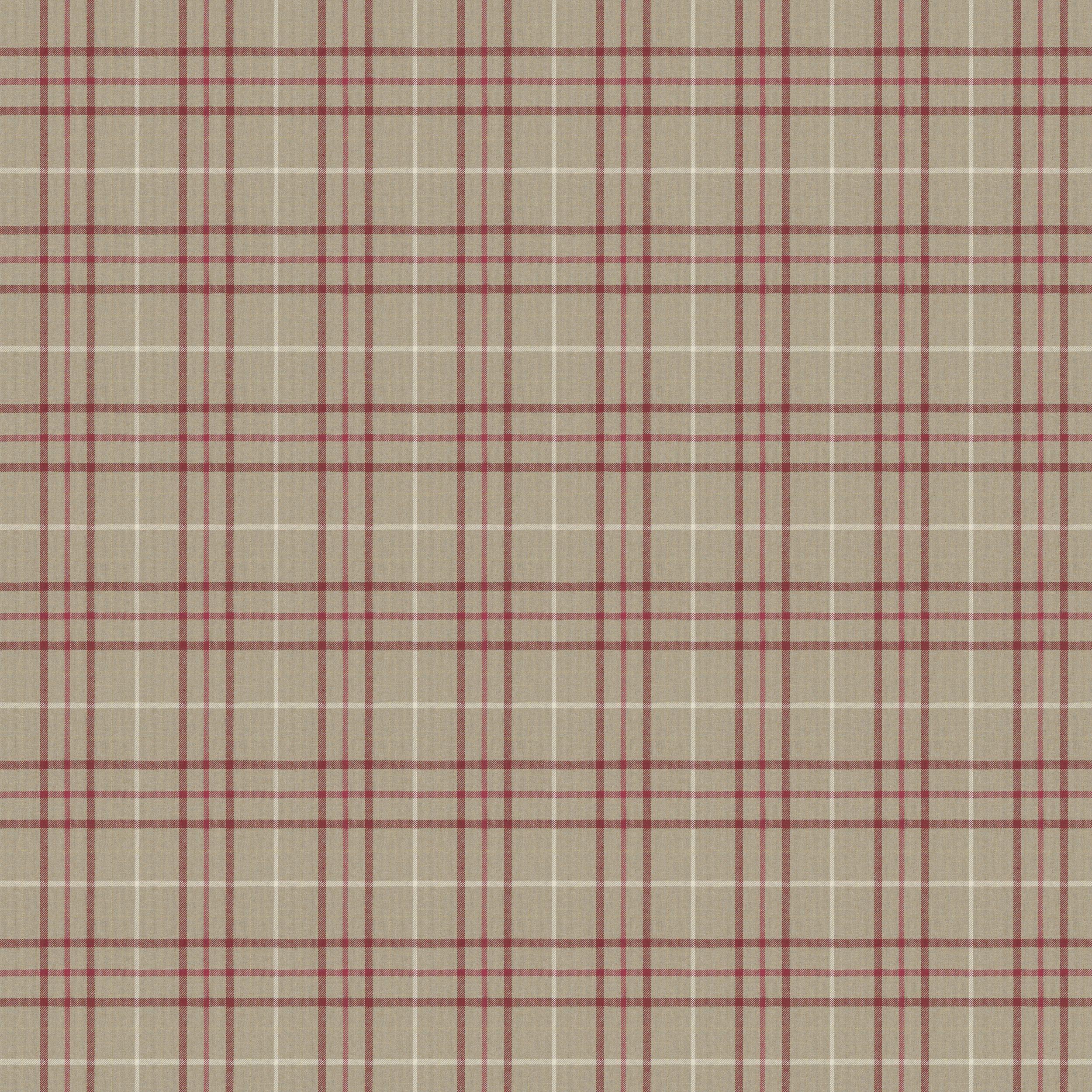 Laura Ashley Keynes Cranberry Check Linen Mix Upholstery