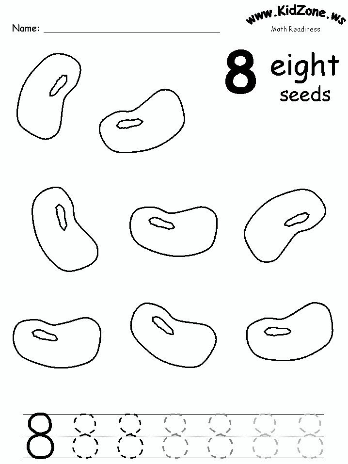 Color and trace the number 8 Seeds – Number 8 Worksheets