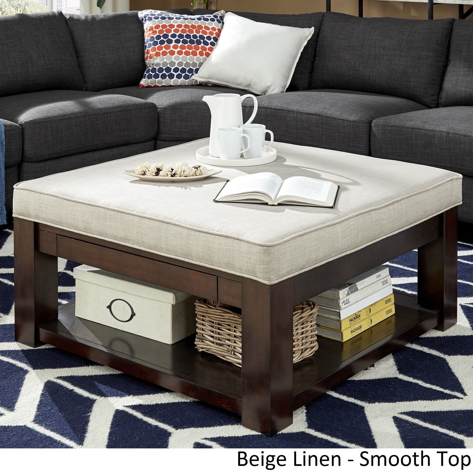 Lennon Espresso Square Storage Ottoman Coffee Table By INSPIRE Q Classic  ([Beige Linen]